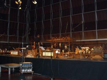 opbouwen voor radio opname met publiek bij Deutschland Funk in Keulen
