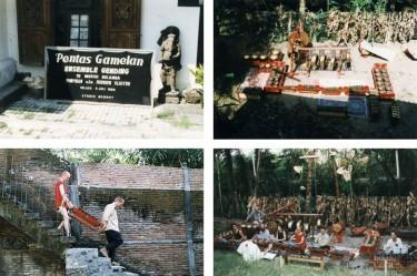 concert in de tuin van Studio Mendut van Sutanto in de bergen ten westen van Yogyakarta